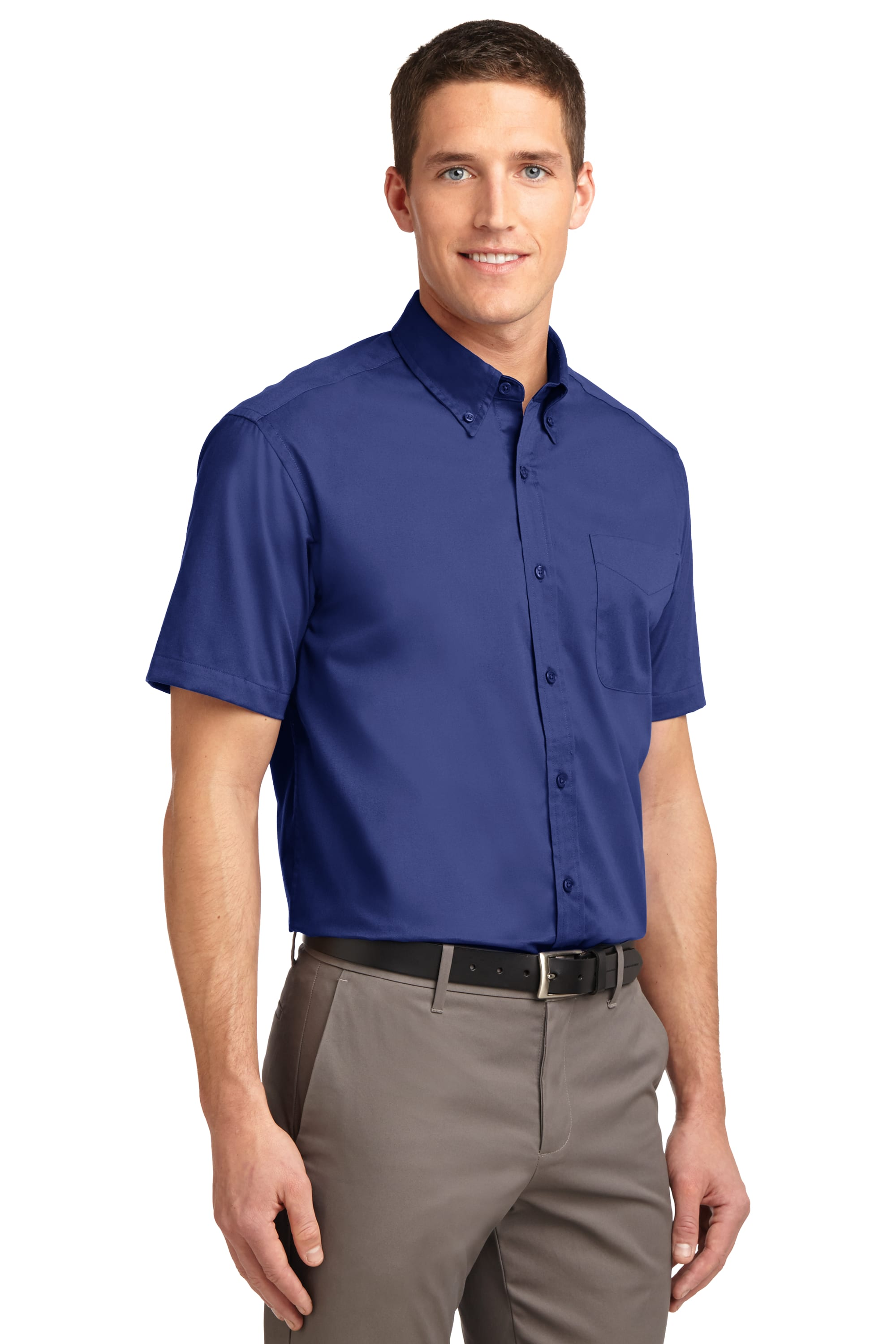 Port Authority Short Sleeve Easy Care Shirt S508 Classic Navy//Light Stone