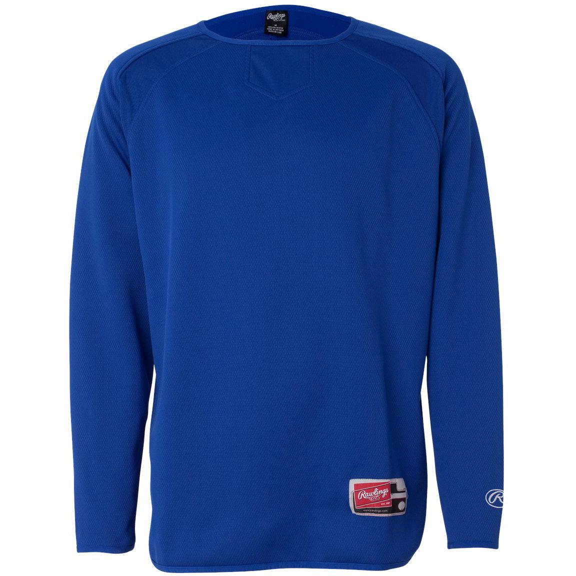 Long Sleeve Flatback Mesh Fleece Pullover 9705 Rawlings