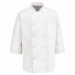 0423 Red Kap Men's Ten Pearl Button Chef Coat - 100% Poly
