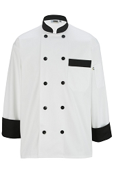 3303 Edwards 10 Button Chef Coat with Black Trim