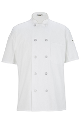 3333 Edwards 10 Button Short Sleeve Chef Coat with Mesh