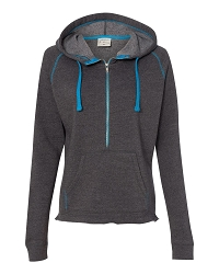 8876 J. America Women's Half-Zip Triblend Hooded Pullover Sweatshirt