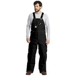 R41 Carhartt ® Duck Quilt-Lined Zip-To-Thigh Bib Overalls