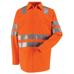 SS14AB Red Kap Hi-Visibility Long Sleeve Work Shirt - Class 3 Level 2