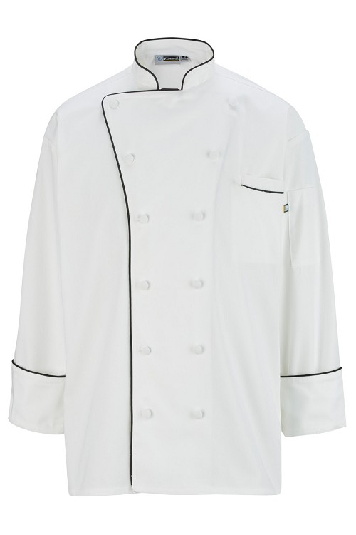 3308 Edwards 12 Cloth Button Classic Chef Coat with Trim
