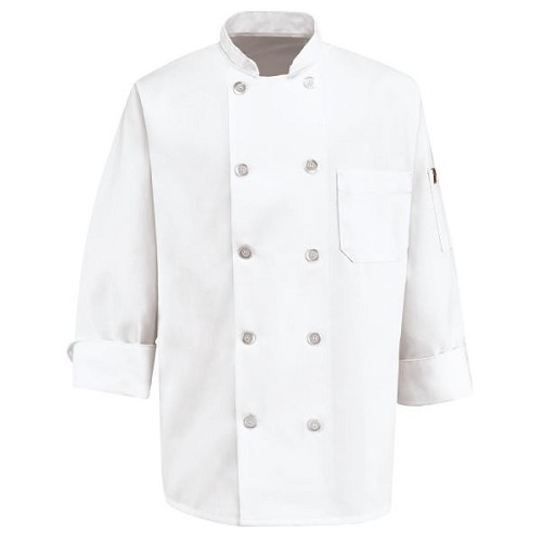 0415 Red Kap Men's Ten Pearl Button Chef Coat - 65Poly/35Cotton