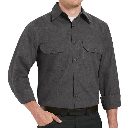 SH10 Heathered Long Sleeve Poplin Uniform Shirt